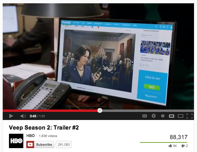 Mashable shout-out on Veep Season 2 trailer! Meme, of course. via HBO via YouTube.
