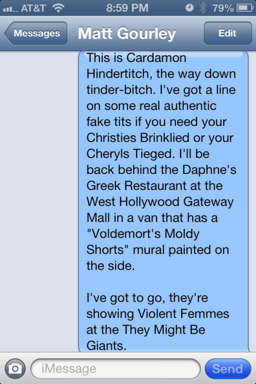 Sometimes, Matt Gourley and I will do Superego sketches via text messages.