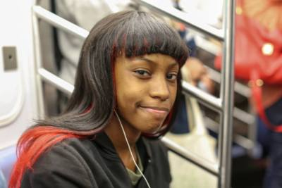 humansofnewyork:  There was a drunk man on the train that everyone was trying to ignore. She saw that he was holding an inhaler, and offered him her seat.