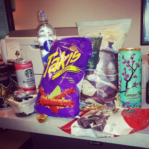 Writing the schedule today. #hrlife why did Jacque buy so many snacks?! #junkfood