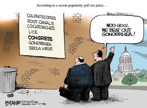 randomness-from-thisoldguy:  Steve Breen editorial cartoon Congress ranked higher than gonorrhea…