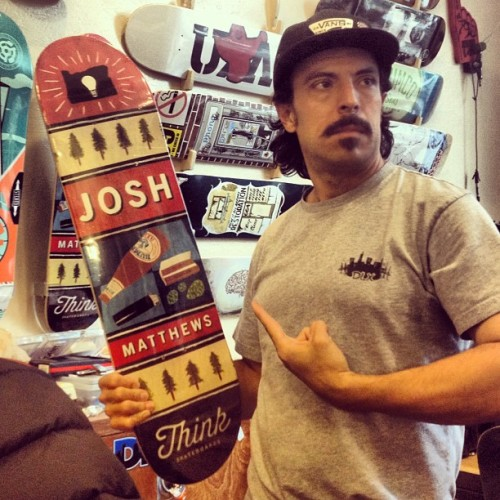 @dlxskateshop representing the new @joshmatthews_ board. If you're in SF, stop by and pick one up. @mdspb holding it down!