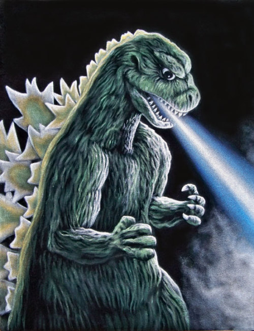 "The Roar of Godzilla 14"" x 18"" acrylic on velvet$600 Part of the group show ""Weapon of Choice"" presented  by Hero Complex Gallery, held at Design Matters 11527 Pico Blvd Los Angeles, CA.  Show opened January 10 and runs until Feb 10, 2012."