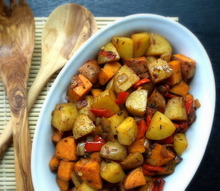 findvegan:  Yukon Gold and Sweet Potato Home Fries