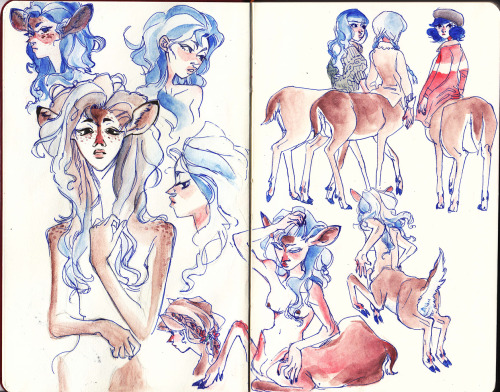 viivus:  Drew deer-girls in my new moleskine-ish sketchbook it's like I've gone full hipster Also I haven't posted anything finished looking in a while ahh I'm sorry!