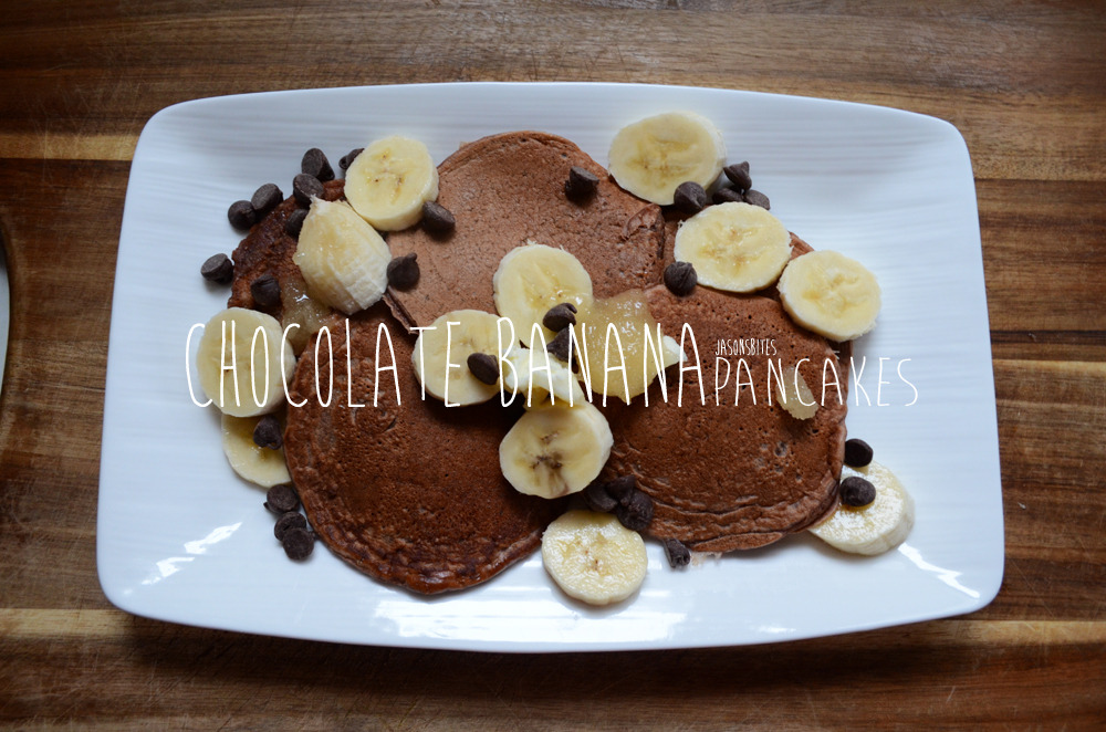 "Chocolate Banana Pancakes And these are ""healthified""! Recipe here."