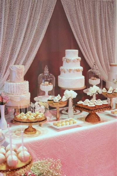 bride2be:  sweet pink and gold wedding dessert bar set-up…  i love the incorporation of bell jars