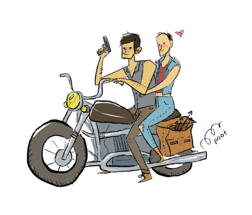 organicpencils:  the walking dead season 4:carol and daryl fall in love. they form a biker gang and travel the continent killing walkers. apocalypse over.