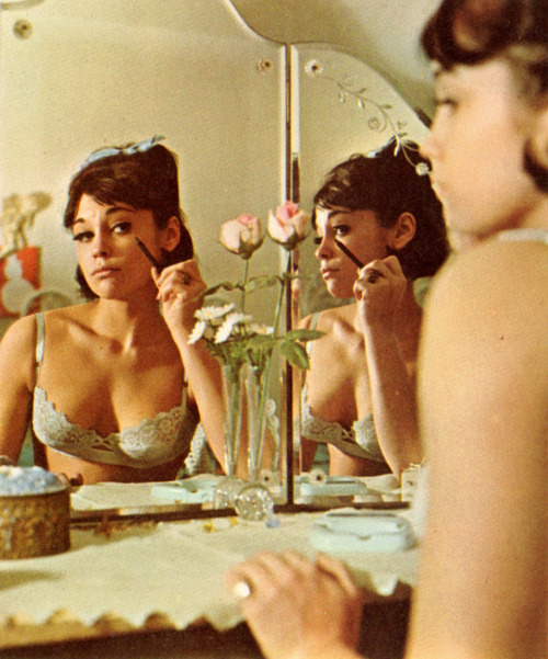 60sfashionandbeauty:  Girl applying her makeup in Cavalier magazine, April 1965. (♥)