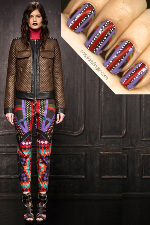 MANICURE MUSE: Just Cavalli Pre-Fall '13 Don't mess with the Just Cavalli girl. She's bold, she has attitude, and this season she's rocking a dark lip. Basically, I love her. Get the Ladyfingers here.