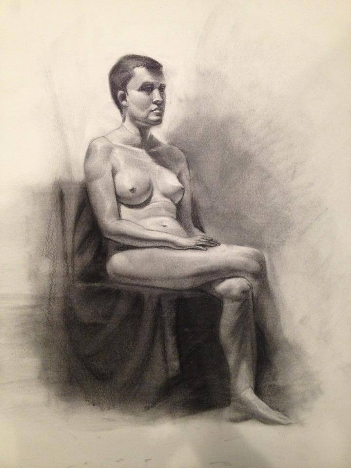 5 hours in class, live model, charcoal on 18x24 inches.