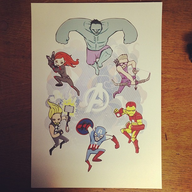 The first test A3 test print of my #marvel #Avengers #illustration will be stocked online soon and limited to 40 prints