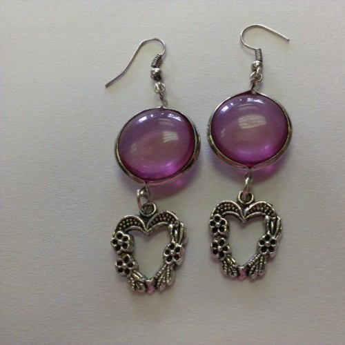 Handmade pink bubble heart dangling earrings…