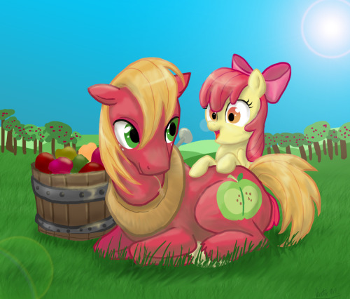 royalcanterlotvoice:  Sweet Apple Siblings by ~DawnMistPony