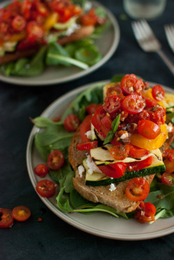 in-my-mouth:  Cherry Tomatoes and Zucchini on Toast
