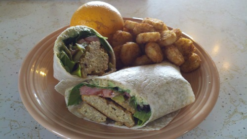 A delicious and very simple vegan lunch!  We start off with a falafel wrap comprised of homemade falafel patties, a flour tortilla, homemade avocado hummus, artisan salad lettuces, fresh tomato slices, and of course miniature gherkins! Accompanied by tater crowns and a fresh navel orange! Basic hummus recipe to follow! :)