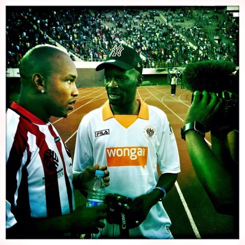 The Senegalese soccer star El Hadji Diouf is interviewed for the evening news after a charity match in Harare, Zimbabwe. May 2012. Photo by @austin_merrill. #elhadjidiouf #senegal #leedsunited #soccer #football #harare #zimbabwe #stadium #sports #africa