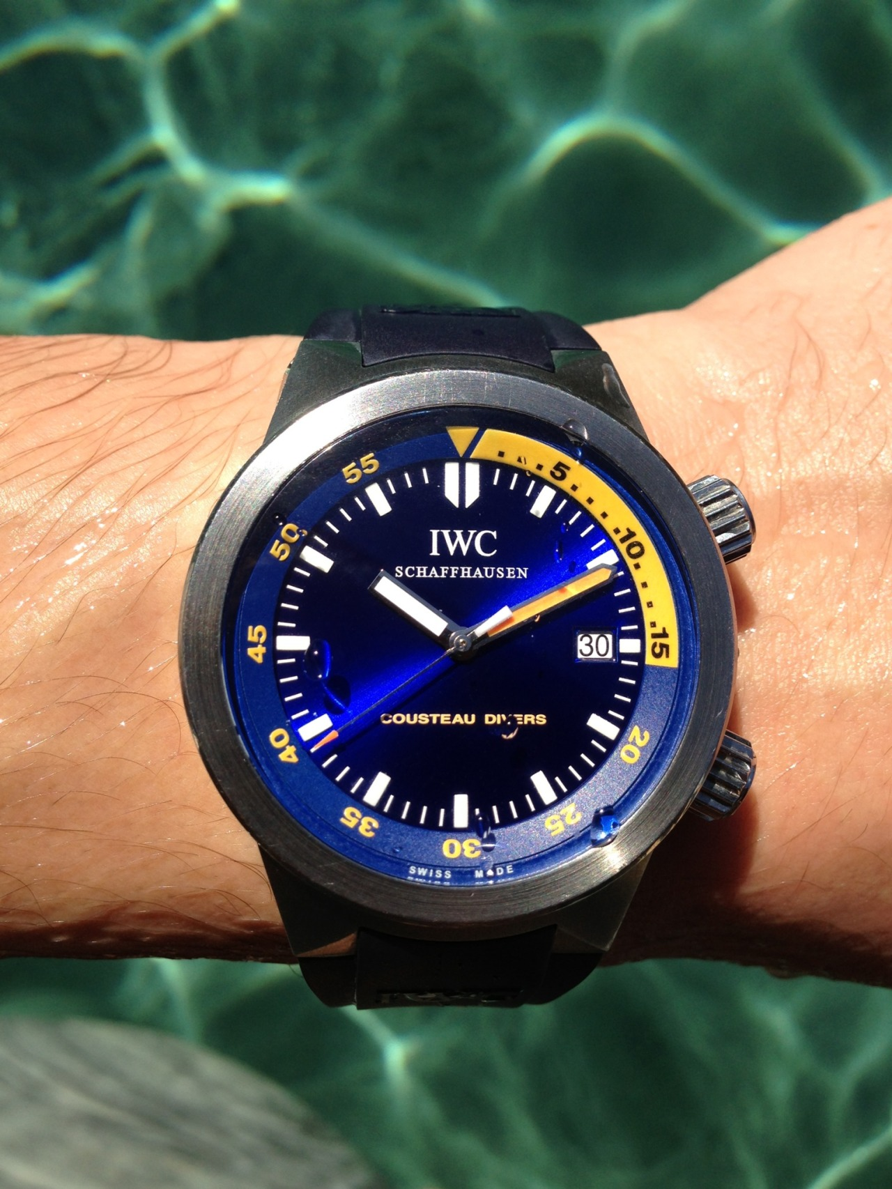 hodinkee:  My vacation watch for the past eight years. IWC Cousteau Diver's Aquatimer. -JM