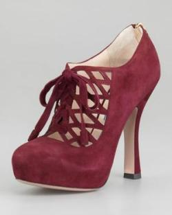 Prada Laced Zip-Back Platform Bootie via http://bit.ly/Zke0H4