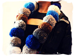 cateaclysmic:  Winter Blues Pom Pom Scarf ♥ Cateaclysmic Crafts ♥