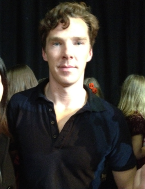 londonafterall:  Met Benedict Cumberbatch. Crop out my face for obvious reason. I made the stupidest stupidest fool of myself I want to dig a hole and die in there. But at least I got the picture…. Meeting David Tennant went much better but then again I am not secretly in love with David Tennant. Also Cabin Pressure was really fun. I'm so glad I went. Today was one of the highlight of my life in both negative and positive way.