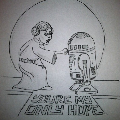 "Feb.4: ""Hope""  #doodleadayfeb #design #drawing #fmsphotoaday #starwars #OnlyHope #R2D2 #illustration #typography #sketch"