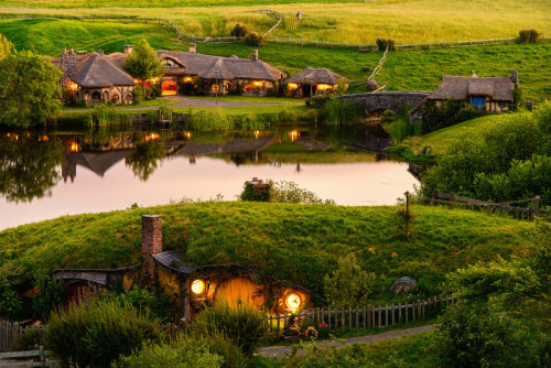 ianbrodiephoto:  Image of the Day The View Across The Water Hobbiton Movie Set