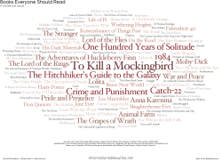 neil-gaiman:  Books Everyone Should Read — an infographic. From http://www.informationisbeautiful.net/visualizations/books-everyone-should-read/ CREDITS — RESEARCH & DESIGN: DAVID MCCANDLESS, MIRIAM QUICK, MATT HANCOCK DATA: BIT.LY/BOOKSEVERYONE SOURCES: UK'S MOST BORROWED LIBRARY BOOKS, DESERT ISLAND DISCS BOOK CHOICES, PULITZER PRIZE WINNERS (1948-2010) ASKMETAFILTER.COM'S BOOKS EVERYONE SHOULD READ, WORLD BOOK DAY POLL, TELEGRAPH 100 NOVELS EVERYONE SHOULD READ, GOODREADS.COM, BSPCN.COM, GUARDIAN 100 NOVELS EVERYONE MUST READ, MAN BOOKER PRIZE WINNERS, OPRAH'S BOOK CLUB LIST.  Agree to all of these. However where is The Count of Monte Cristo???