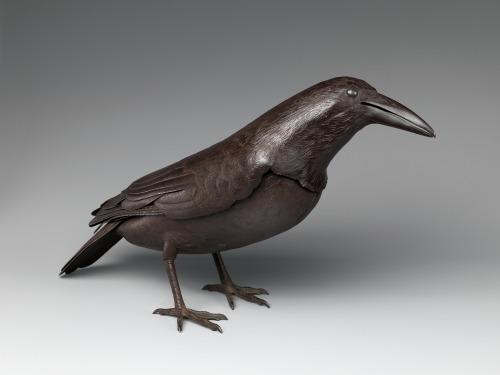 "Raven, early 18th century, fashioned of hammered and embossed steel by master metalsmith Myōchin Munesuke.  Part of the Metropolitan Museum's ""Birds in the Art of Japan"" exhibition."