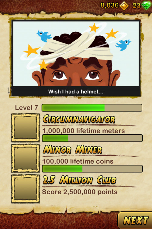 Achievements on Temple Run 2 escalate pretty quickly…