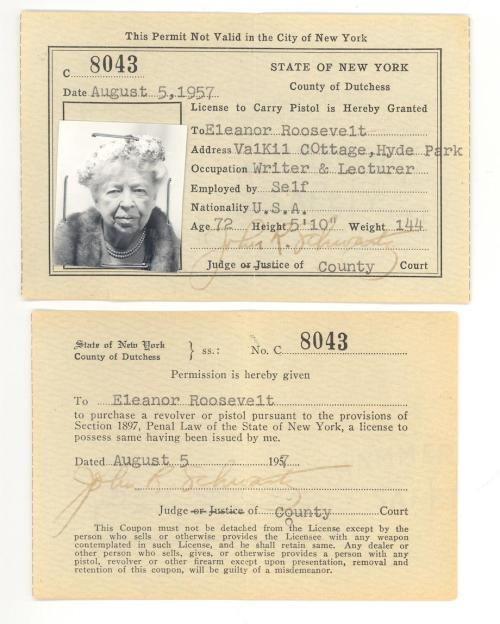 slatevault:  The fiercely independent Eleanor Roosevelt had a permit to carry a pistol. Here it is: http://slate.me/14IGr07  She was tall!  And a badass.