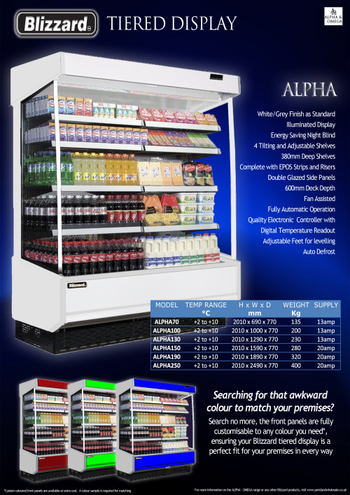 The ALPHA range of customisable high quality tiered displays from Blizzard.  Visit www.pentlandwholesale.co.uk for more information, or to pick your colour!