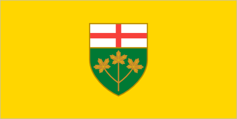 Ontario (unofficial), 1962-1965 When the Garden of the Provinces in Ottawa was opened in 1962, a set of unofficial flags were made to represent the country's provinces and territories. Each flag had a provincial shield on a plain coloured background. The colours were arbitrary. Some were white, some red, some blue; PEI's was green and Ontario's was yellow. The flags soon spread beyond the garden and effectively became unofficial provincial flags. Already in 1962 there were four provinces with flags of their own. By the end of the decade every province had one. But despite provincial reservations, the federal government continued flying the plain coloured flags until the mid 1970s. When Alberta finally adopted its flag in 1968 it just went with the plain blue flag from Ottawa, making it the last survivor of a weird and somewhat unloved group of Canadian flag designs.