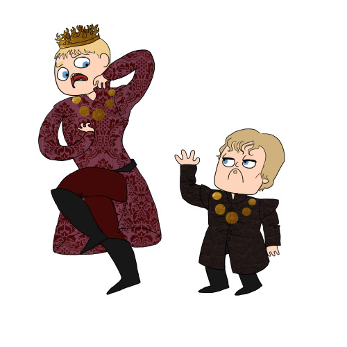 "wisdomspearl:  ""DON'T MAKE ME USE MY PIMP HAND NEPHEW!""  ""NO, UNCLE TYRION!""  Lizzy Draws Game of Thrones Day 1"