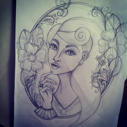Time to neaten this up! #sketch #flower #woman #frame #filigree #illustration #mywork