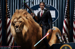 Obama Riding a lion by *SharpWriter
