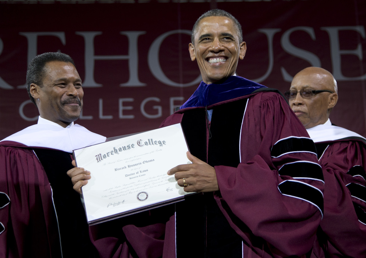"Obama addresses challenges of being a black man in Morehouse speech ""That's what we've come to expect from you, Morehouse — a legacy of leaders — not just in our black community, but for the entire American community.  To recognize the burdens you carry with you, but to resist the temptation to use them as excuses.  To transform the way we think about manhood, and set higher standards for ourselves and for others.  To be successful, but also to understand that each of us has responsibilities not just to ourselves, but to one another and to future generations.  Men who refuse to be afraid. "" (Photo credit: Carolyn Kaster/AP)"