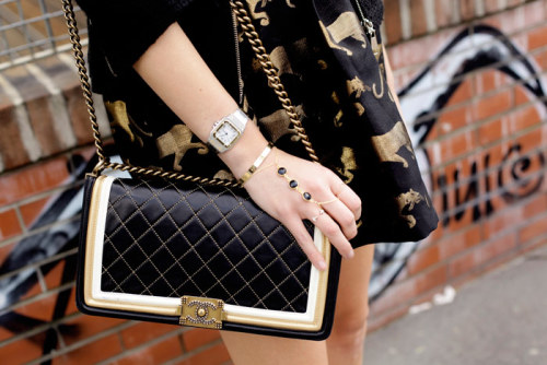 what-do-i-wear:  MINUSEY DRESSCARTIER WATCH + CARTIER LOVE BRACELETVITA FEDE RINGSCHANEL BOY BAG (image: theblondesalad)