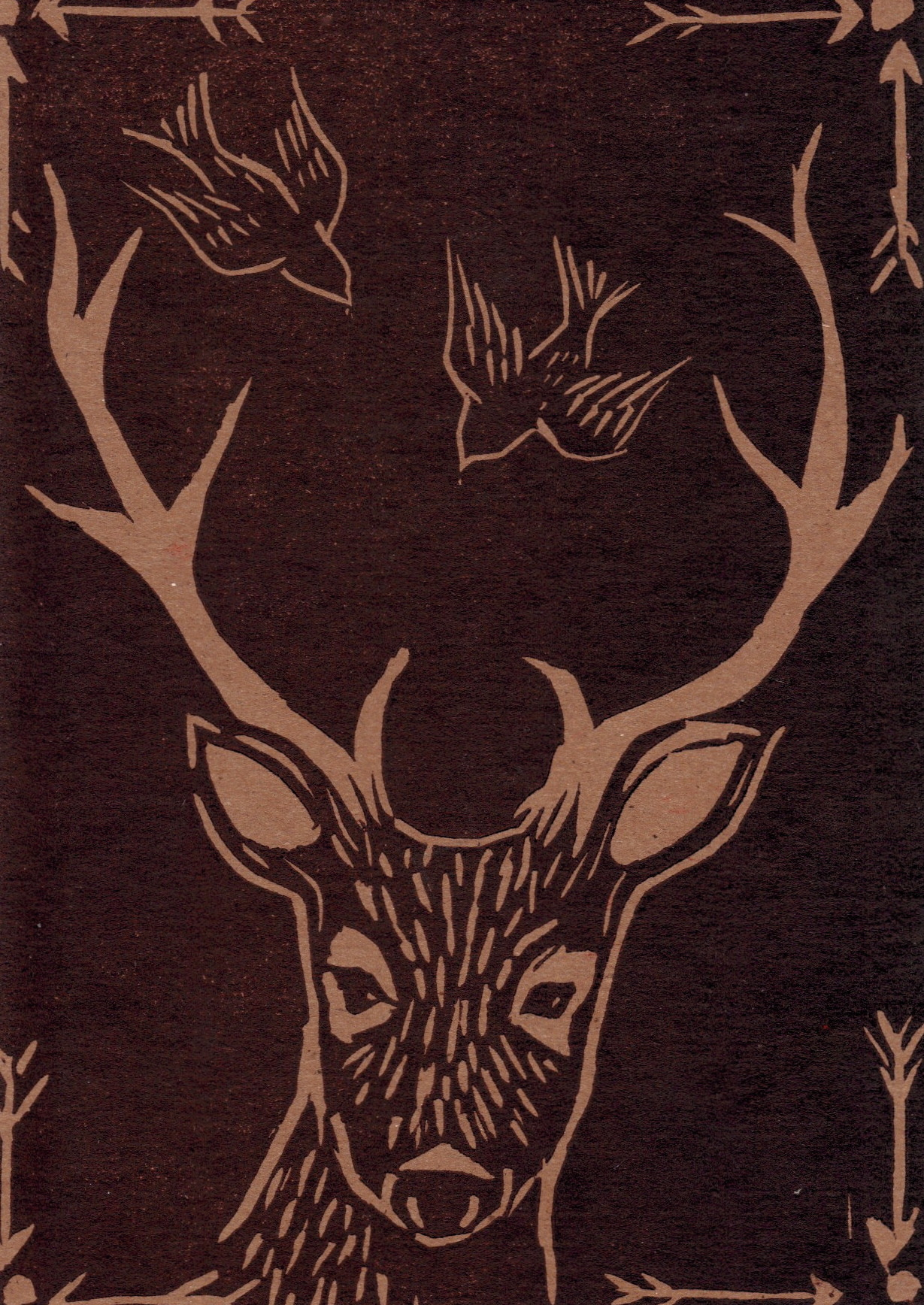"marissarosejohnson:  Deer & birds postcard - it just says ""Greetings from Michigan!"" on the back. printed using red and black ink"