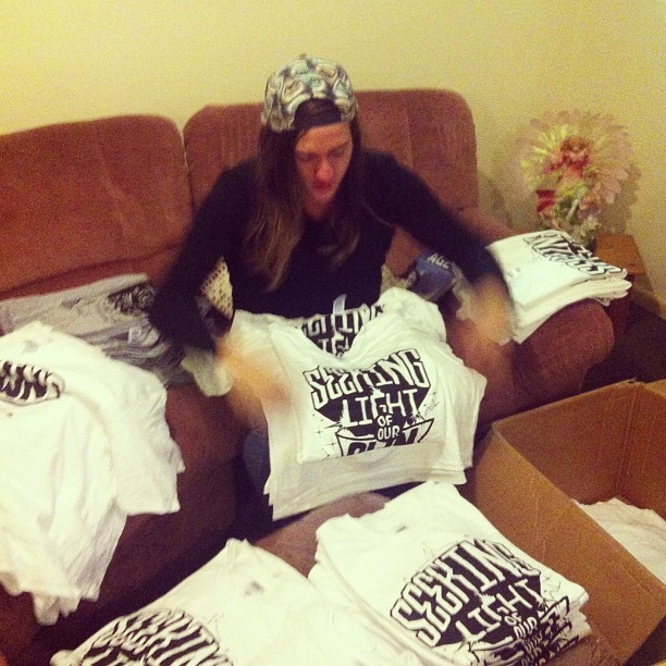 @polarisaus #merch anyone? ;) getting our shirts ready for our Born of Osiris show this Saturday!! KEEEN!!! Ft. @__katielee #bornofosiris #polarisaus