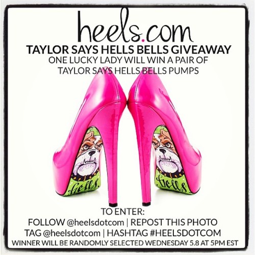 @heelsdotcom is giving away a pair of #taylorsays hells bells heels!! Follow the instructions in this pic and good luck!! Xox 💘🐶💚 #tshellsbells