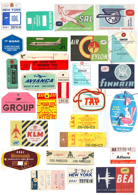 Vintage Airline Luggage Tag Graphics