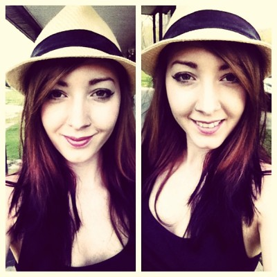 My hair isn't red. #me #michigan #mi #detroit #hat #lipstick #summer #pretty #babe #piercing #gemini #girl #girlswithpiercings #nosering #nosestud #reverseombre #selfie #outside #attractive