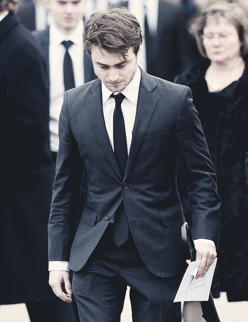 Daniel Radcliffe during The funeral of actor Richard Griffiths, which took place at the Holy Trinity Church in Stratford Upon Avon on April, 09.