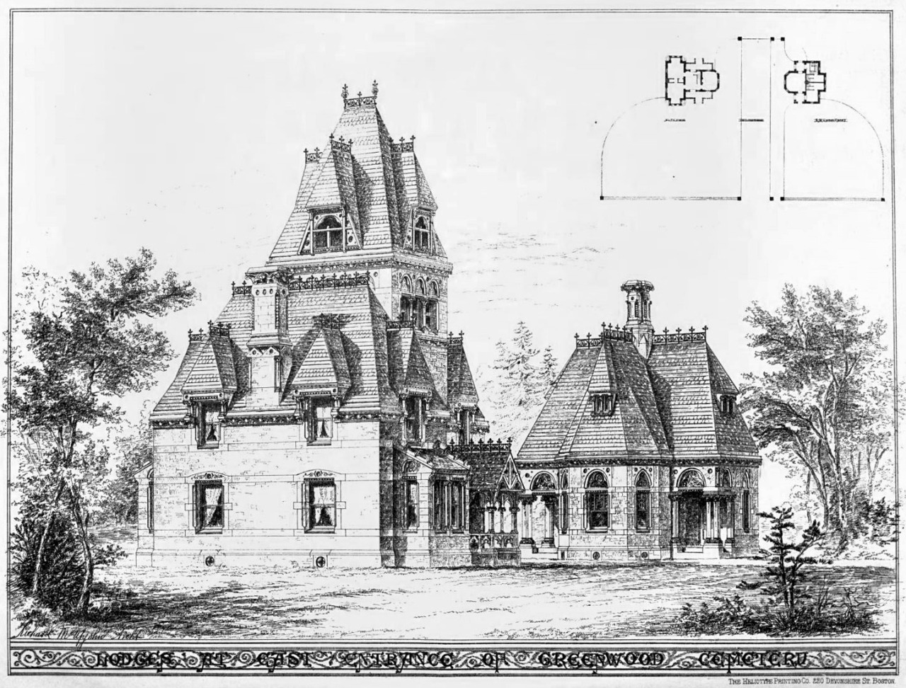 Design for lodges at the East Entrance of Greenwood Cemetery, Brooklyn