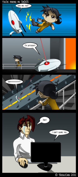 Portal - Turret Trouble by =TrebleChibi I always feel so awful!