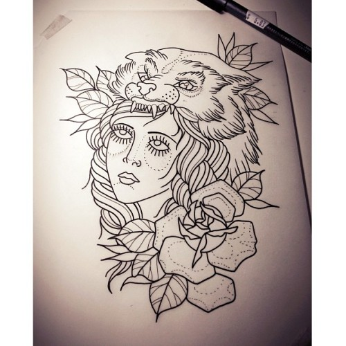 #tattoo #lady #wolf #rose #chrisrigoni