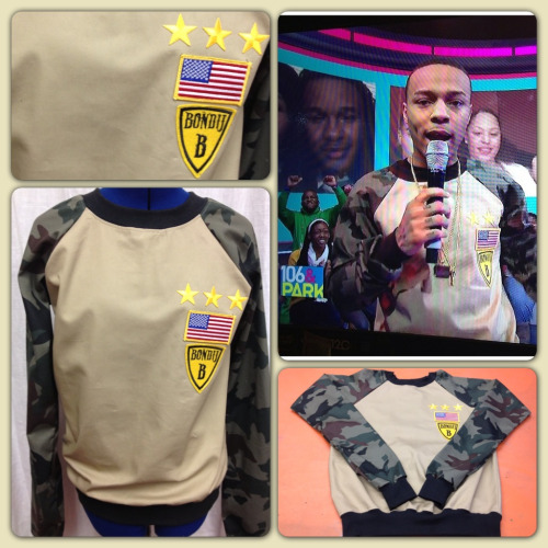 Bow Wow in our custom made Camo & Khaki Bondij sweatshirt on Valentines Day 2013