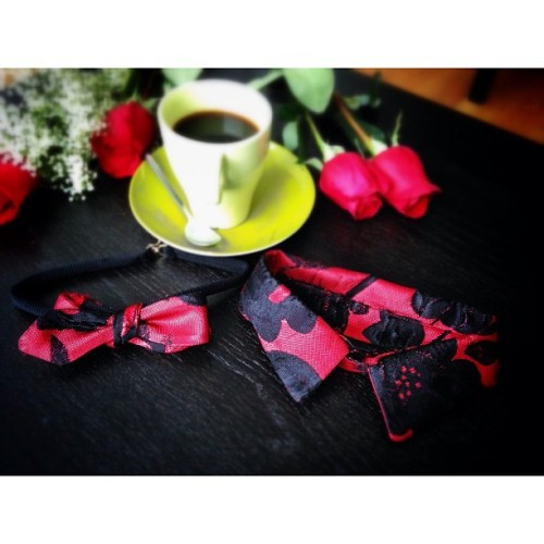 HIS OR HER STYLE SET: VDAY Date Kit - $25 promo deal.  His bowtie / her collar or vice versa is made of silk brocade floral print. There will only be 5 duo sets made for vday. Available for purchase online Tomorrow-12pm EST. To Reserve yours now email sales@inezgalvez.com or comment here. #valentinesday #vday #style #set #couple #love #red #roses