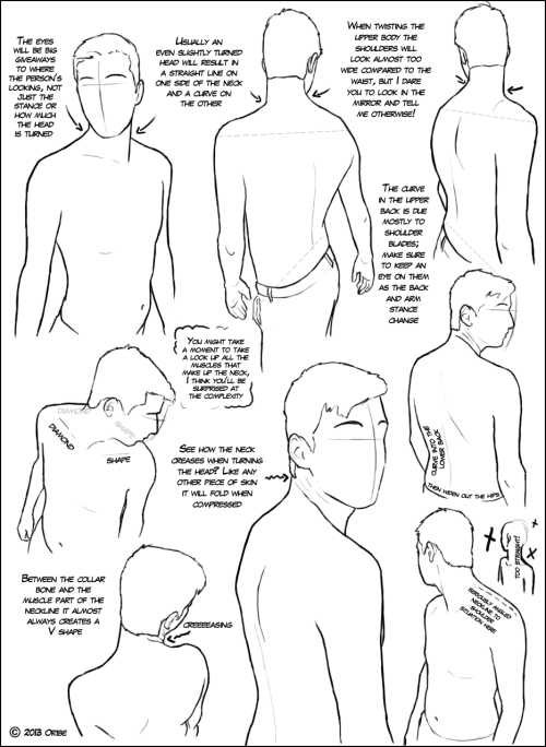 jammareduke:  Over the Shoulder Tutorial by ~DerSketchie  some anatomically helpful tips in twisting the head and upper torso